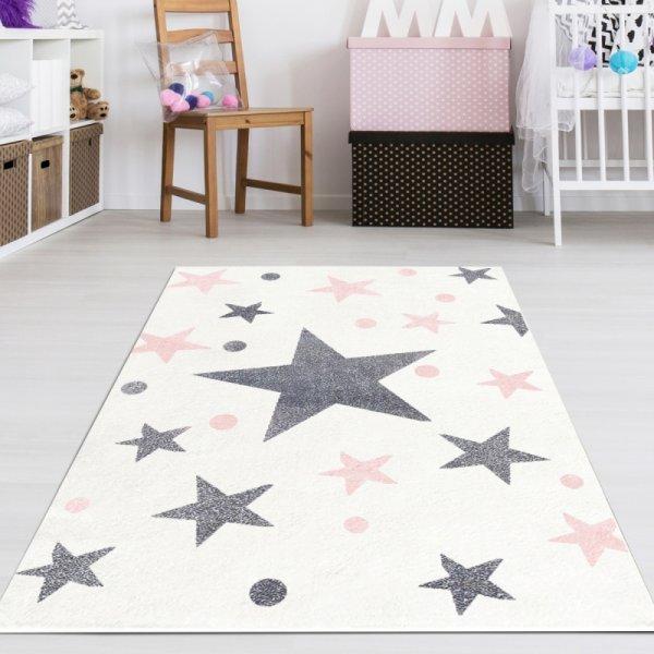 Sterne Teppich Weiß Grau Rosa