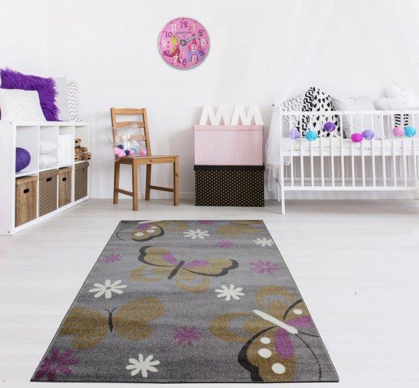 Kinderteppich 160 x 230 cm Schmetterling Grau