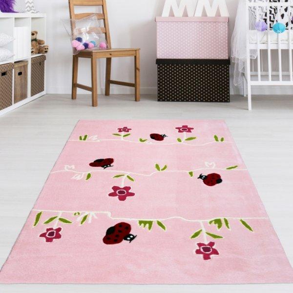 Kinder Teppich Blumenwiese Rosa