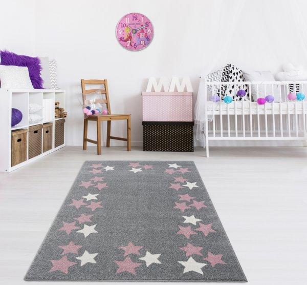Kinderteppich Silbergrau Weiß Rosa Sterne
