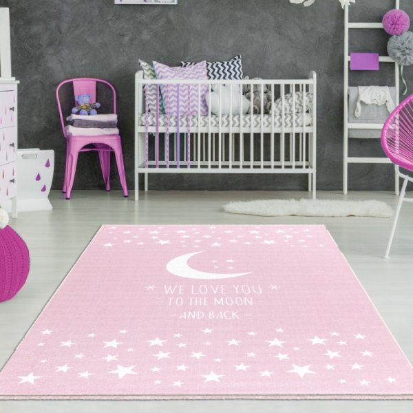 Baby Teppich Mädchen Rosa Waschbar
