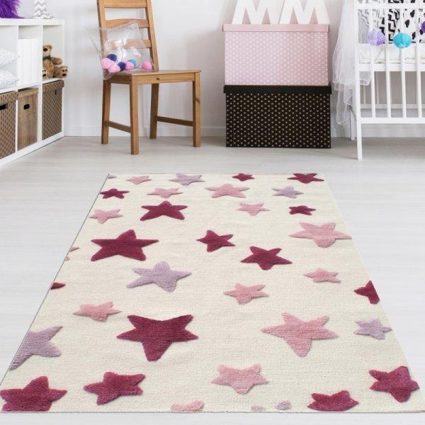 Kinderzimmer Teppich Mädchen Rosa Sterne