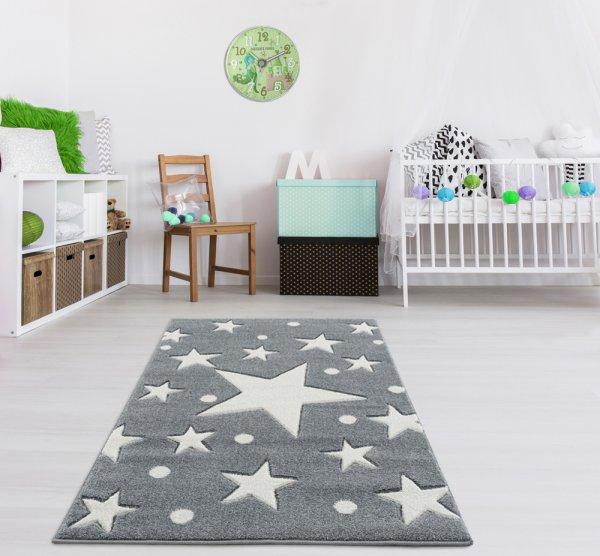 Kinderteppich Grau Weiß Sternenhimmel Punkte
