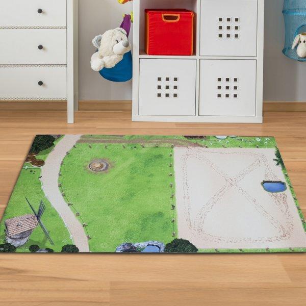 Pferde Spielmatte mit Reiterhof & Pferdekoppel 150 x 100 cm