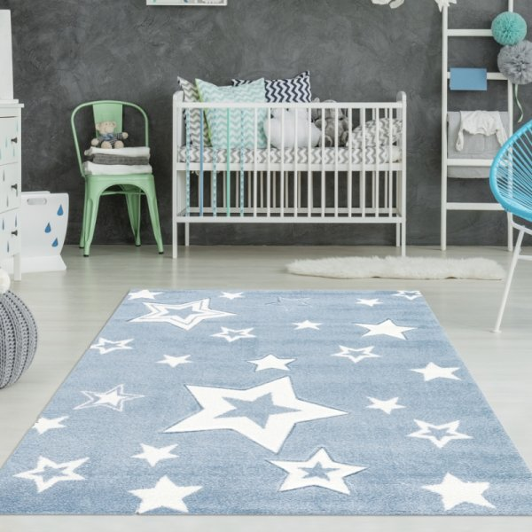 Kinderteppich Jungen Sterne Hellblau