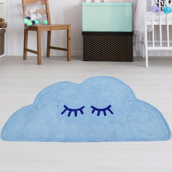 Wolkenteppich Blau aus Baumwolle Waschbar