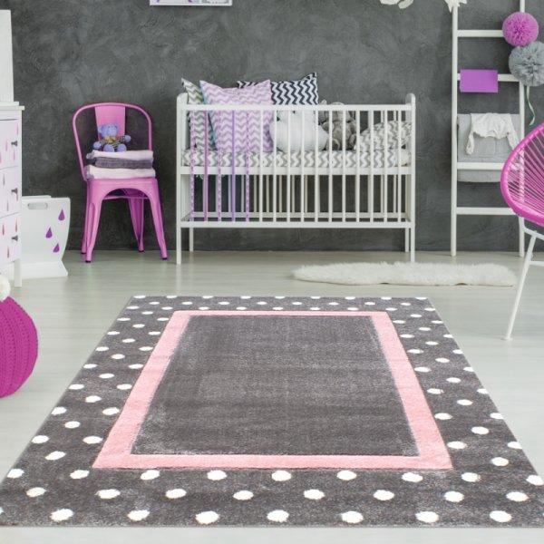 Kinder Teppich Punkte & Rechteck Grau Rosa