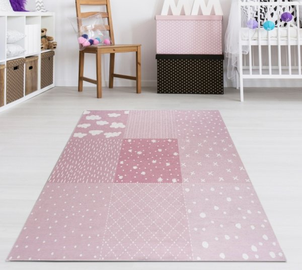 Kinderteppich Happy Rugs PATCHWORK rosa, waschbar