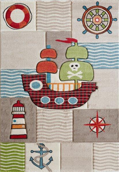 Teppich mit Piratenschiff braun beige weiss