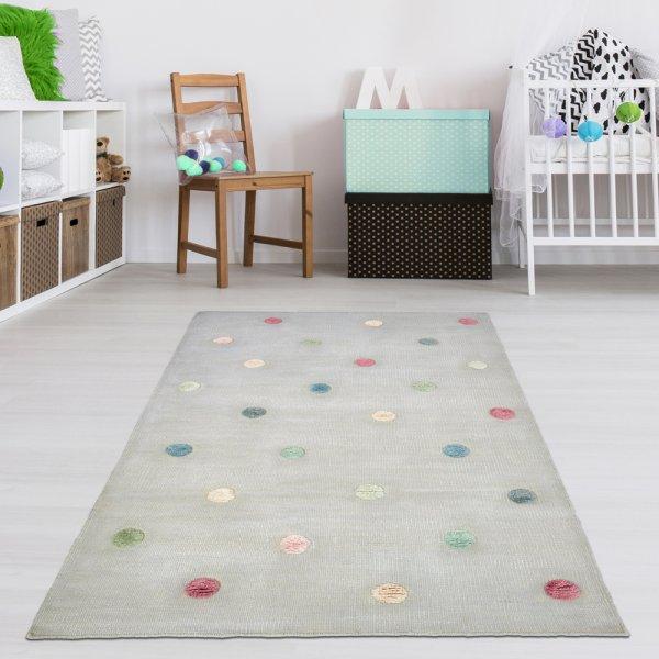Handgewebter Teppich für Kinderzimmer Grau/Multi