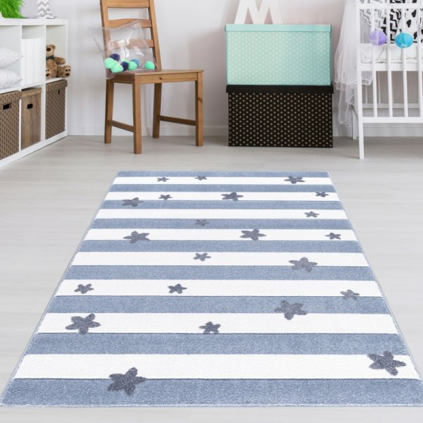 Jungen Kinderteppich Sterne & Streifen Blau Weiß
