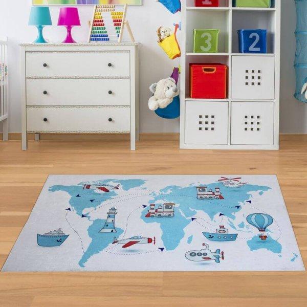 Spielteppich Weltkarte Weiß Blau Waschbar & Rutschfest