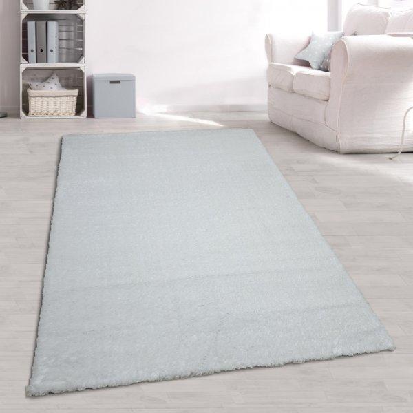 Hochflor Teppich Weiß