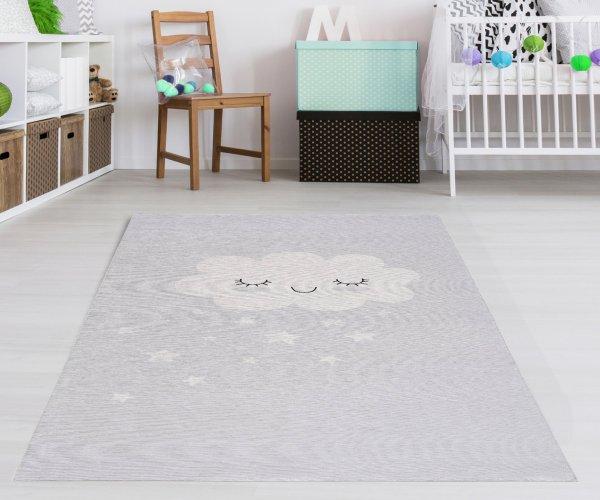 Kinderteppich Happy Rugs CLOUD Silber Grau, waschbar, 90x160cm