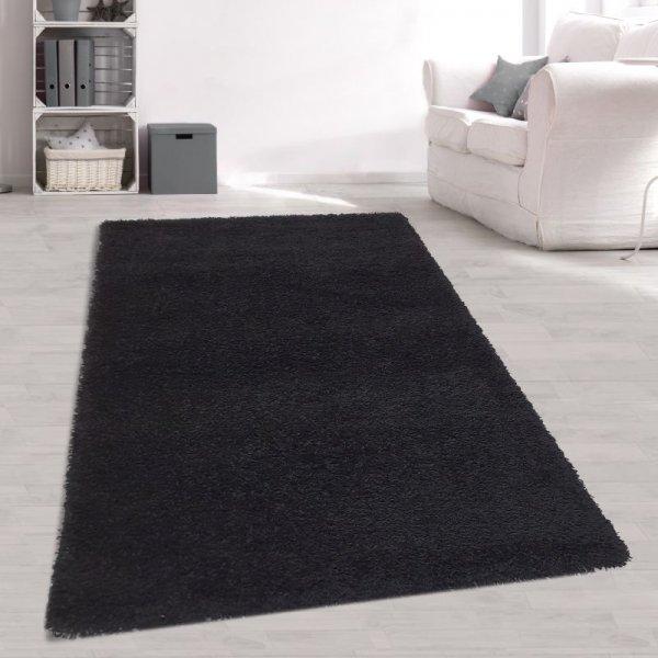 Jugendzimmer Teppich Schwarz Langflor Hochflor