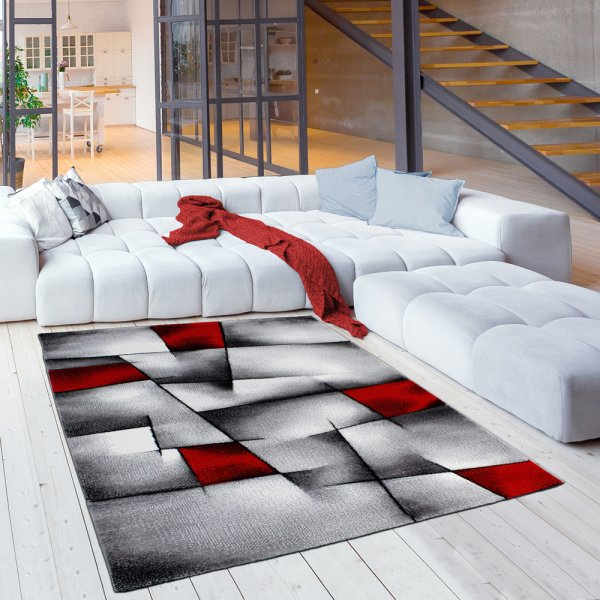 Moderner Jugendteppich in Grau/Rot