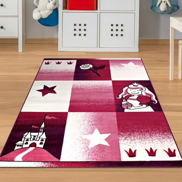Teppich Prinzessin & Schloss Pink