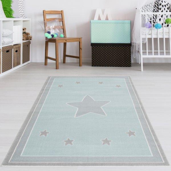 Kinderteppich Grau Fröhliche Sterne Mint