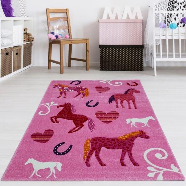 Kinderteppich Pferde Rosa