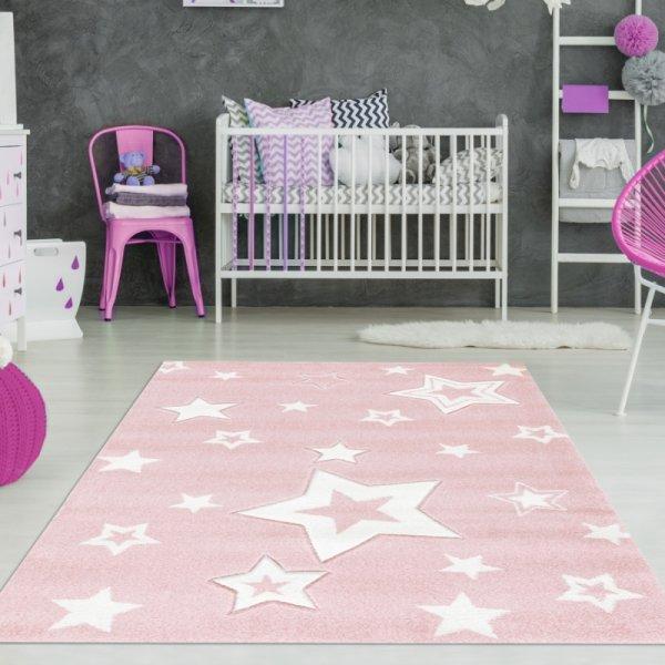 Kinderteppich Mädchen Sterne Rosa