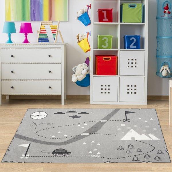 Kinderteppich Schatzkarte Grau Waschbar