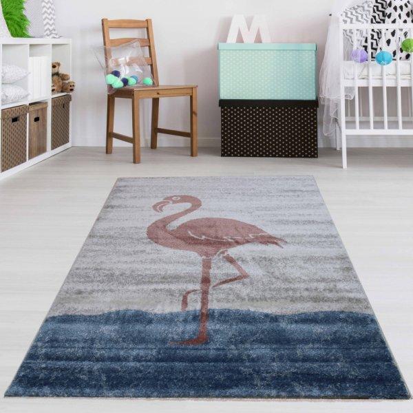 Kinderteppich Flamingo Weiß Blau Rosa