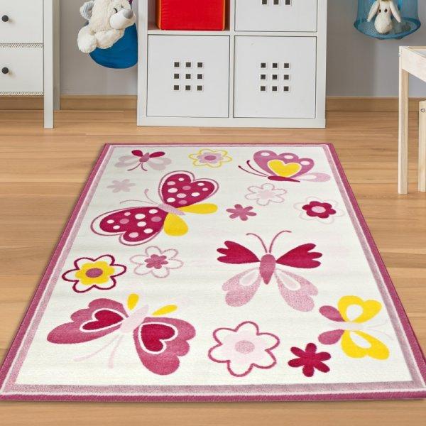 Kinderteppich Schmetterling Weiß Rosa