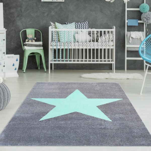 Teppich mit Stern Grau Mint