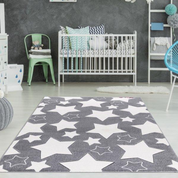 Kinderzimmer Teppich Sterne Grau Weiß