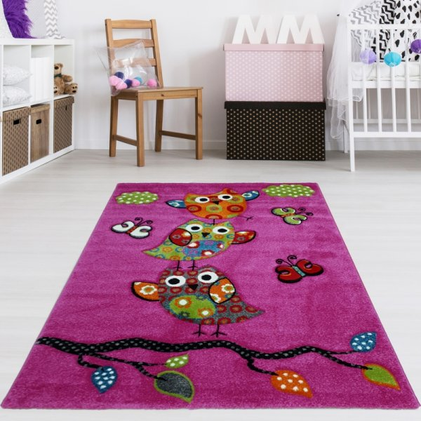 Kinderteppich Eulen Pink