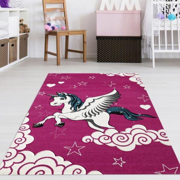 Kinderteppich Einhorn Pink
