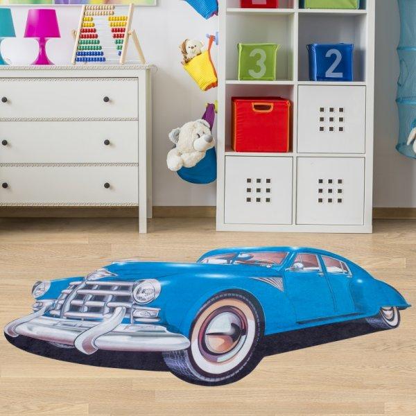 Kindertepich Auto Blau Waschbar & Rutschfest