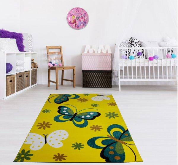 Kinderteppich 160 x 230 cm Schmetterling Gelb