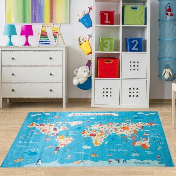 Weltkarte Tiere Spielteppich Blau Bunt Waschbar & Rutschfest