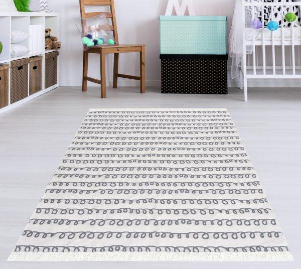 Waschbarer Teppich Piatto TRIANGEL grau/weiß