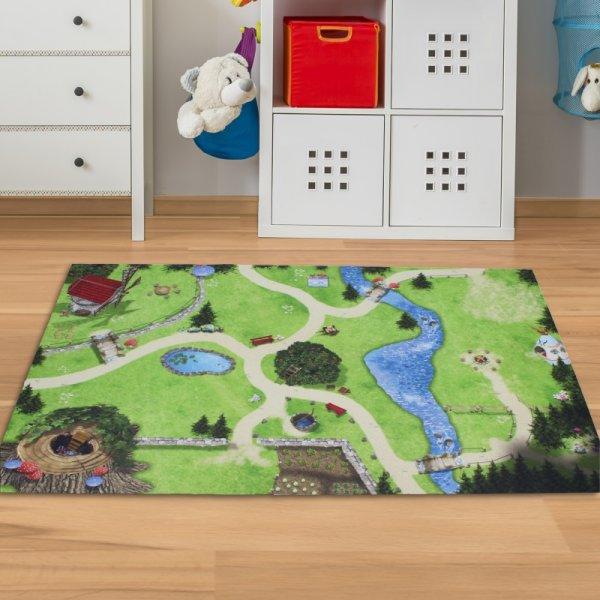 Spielmatte Landschaft mit Wald & Wiese 150 x 100 cm