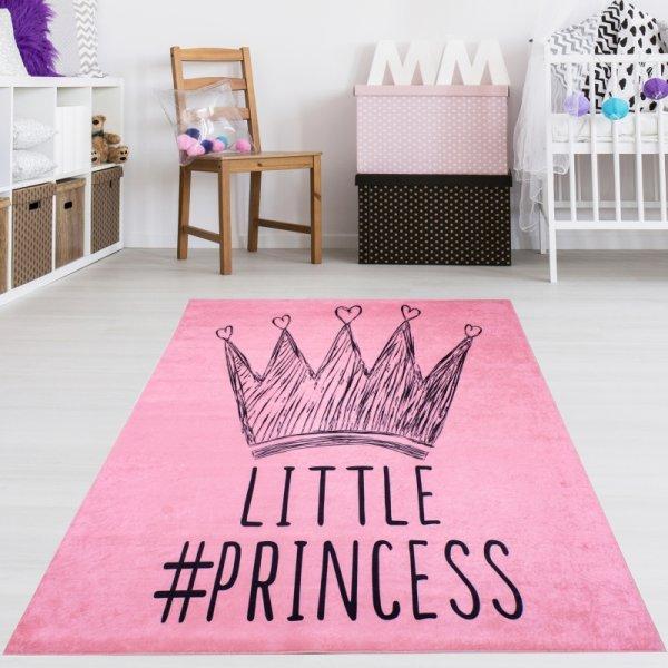 Prinzessinnen Kinderteppich Rosa Waschbar & Rutschfest