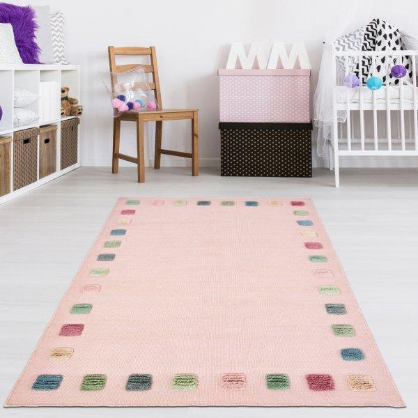 Handgewebter Teppich für Kinderzimmer Rosa/Multi