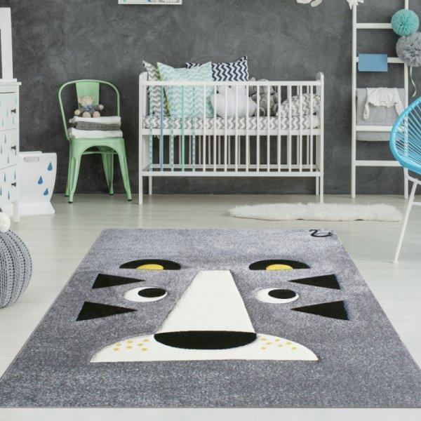 Kinderteppich Tiger Grau