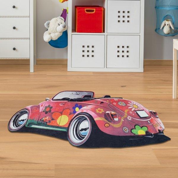 Kinderteppich Auto VW-Käfer mit Blumen rot