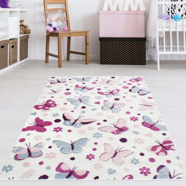 Schmetterling Teppich Weiß Pink Blau