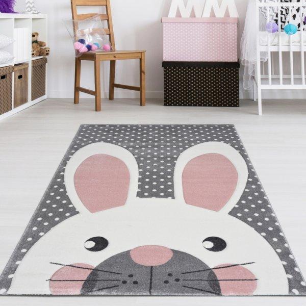 Kinderteppich Hase & Punkte Grau Rosa Pastell