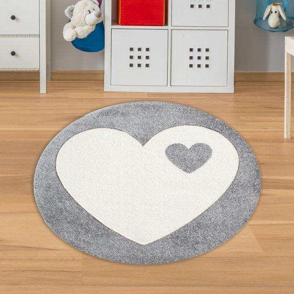 Teppich Rund mit Herz Grau Weiß