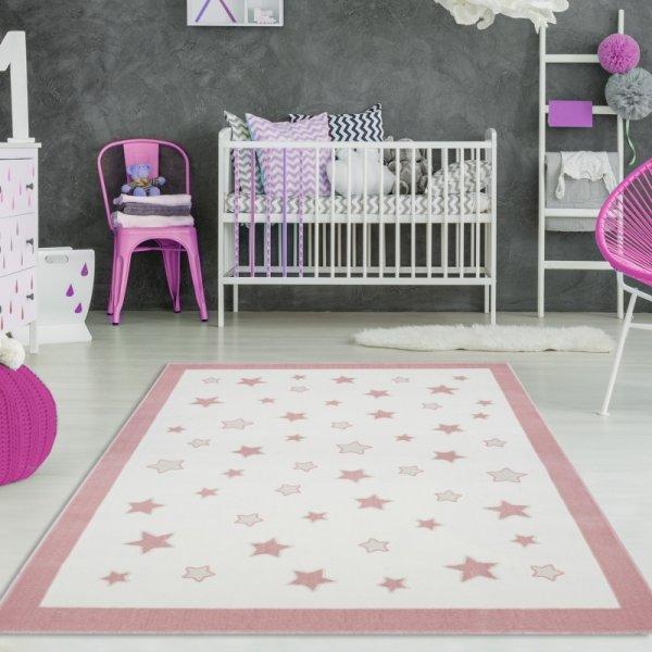 Kinderteppich Stern Träume Creme Pastell Rosa