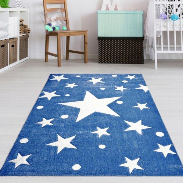 Kinderteppich Sterne Blau Weiß