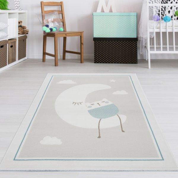 Kinderteppich Mond & Katze Beige Mint Creme Weiß