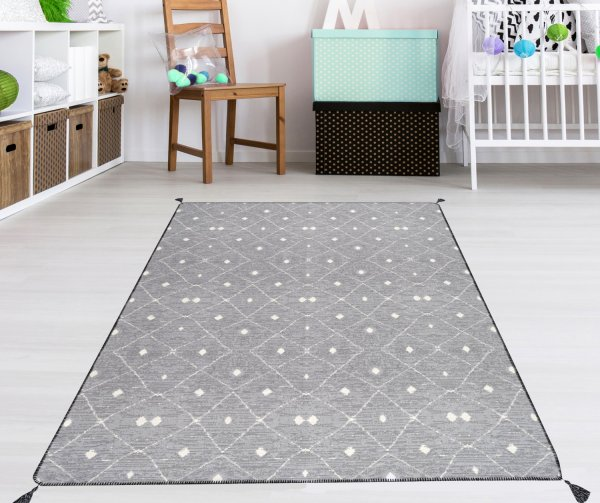 Waschbarer Teppich Piatto SOLO grau/natur