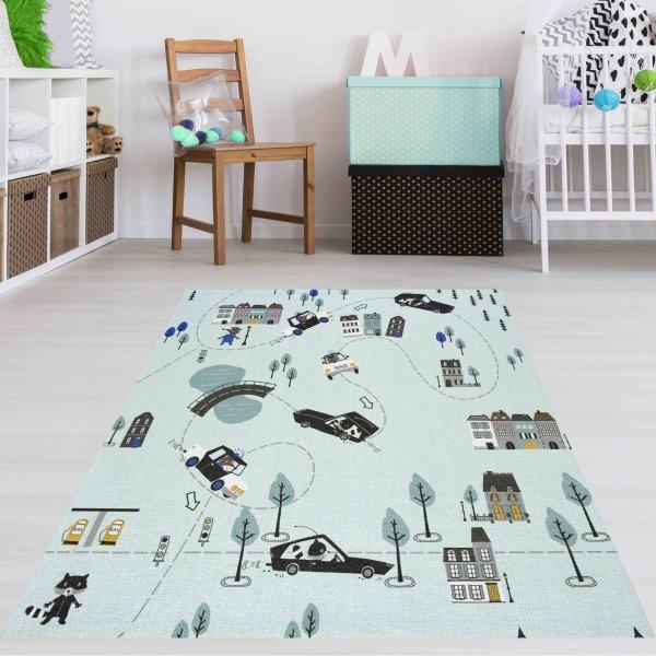 Auto Straßen Teppich Waschbar Mint Multi