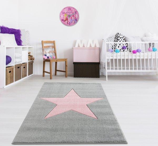 Kinderteppich Stern Grau Rosa Velour
