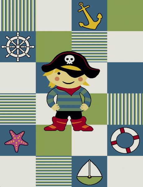 Kinderteppich Pirat Grün Weiß